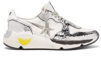 Golden Goose Metallic Panel Neoprene And Leather Trainers - Womens - White Silver