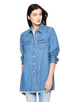 PD Peppered Denim Women's Casual Long Sleeve Western Denim Shirt Jacket