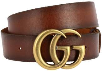 Gucci Belt Leather Belt With Gg Metallic Monogram
