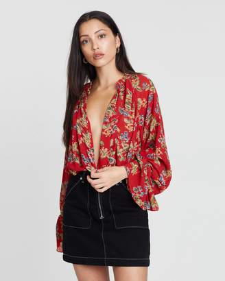 Missguided Floral Balloon Sleeve Bodysuit