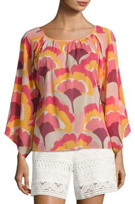 Trina Turk Ginkoba Stretch-Silk Top $248 thestylecure.com