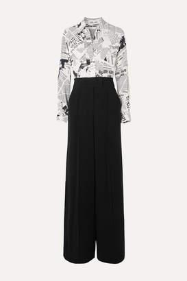 Diane von Furstenberg Hayden Printed Crepe Jumpsuit - Black
