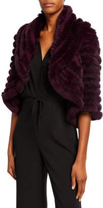 Neiman Marcus Striped Fur & Cashmere Shrug