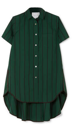 Sacai Asymmetric Striped Cotton-poplin Shirt - Dark green