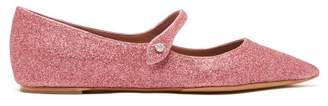 Tabitha Simmons Hermione Glittered Leather Flats - Womens - Pink