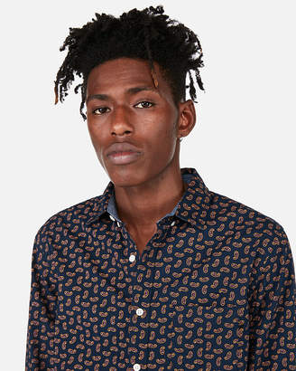 Express Slim Paisley Button Collar Soft Wash Shirt