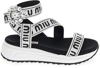 Miu Miu Logo Band Buckle Sandals
