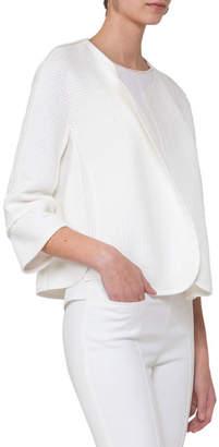 Akris Punto Oversized Cotton-Blend Tweed Jacket, Beige