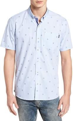 7 Diamonds Summer Sky Stripe Dobby Diamond Sport Shirt