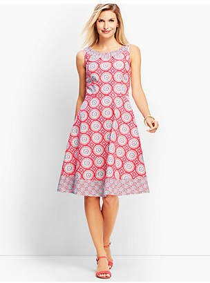 Talbots Mixed Geo-Print Fit-and-Flare Dress