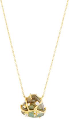 Indulgems Labradorite Trillion Pendant Necklace