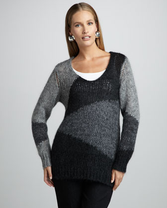 Eileen Fisher Colorblock Mohair Sweater Tunic