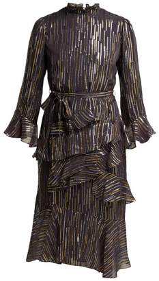 Saloni Marissa Fil Coupe Silk Blend Georgette Dress - Womens - Black Gold