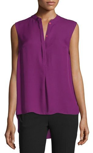 DKNY DKNY Shereen Sleeveless Jewel-Neck Blouse, Garnet