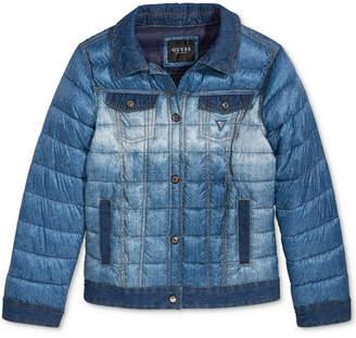 GUESS Big Girls Denim-Look Puffer Jacket
