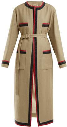 Gucci Round-neck linen-blend coat