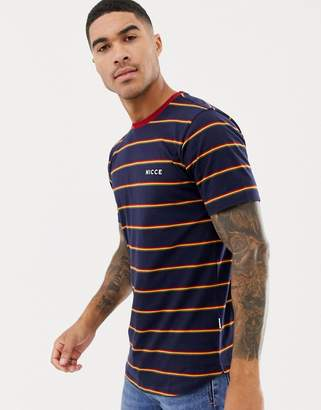 Nicce London t-shirt in navy with stripes