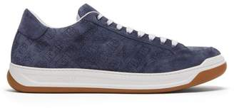 Burberry Timsbury Perforated Logo Low Top Suede Trainers - Mens - Blue