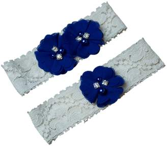 The Pink Bunny Garters Royal Blue Chiffon Flower Ivory Wedding Garter Set