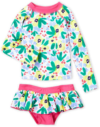 Floatimini Toddler Girls) Two-Piece Pineapple Rashguard & Skirted Bikini Bottom Set