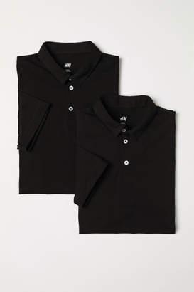 H&M 2-pack Slim Fit Polo Shirts - Black