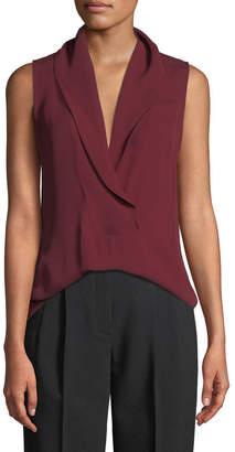 Theory Shawl-Collar Classic Silk Georgette Shell