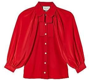 Gucci Women's Long-Sleeve Bow Detail Silk Shirt