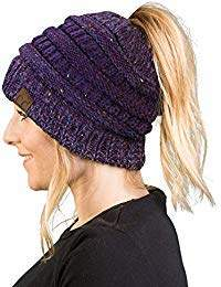 abe977fd7d4de Funky Junque BT-6800-8131 Messy Bun Womens Winter Knit Hat Beanie Tail -