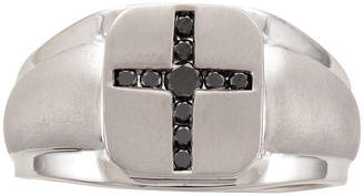 Black Diamond FINE JEWELRY Mens 1/4 CT. T.W. Color-Enhanced Sterling Silver Mens Cross Ring