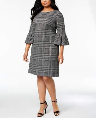 Calvin Klein Plus Size Plaid Bell-Sleeve Dress