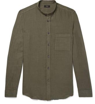 Theory Kier Grandad-Collar Linen Shirt