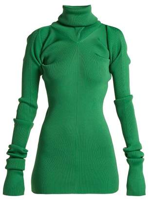 Ribbed Knit Roll Neck Sweater - Womens - Green