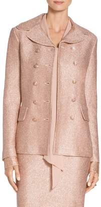 St. John Frosted Metallic Knit Double Breasted Jacket