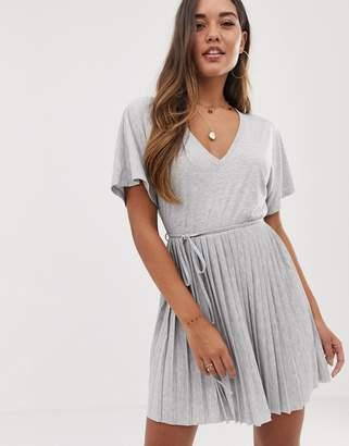 Asos Design DESIGN v neck mini dress with pleated skirt and self belt