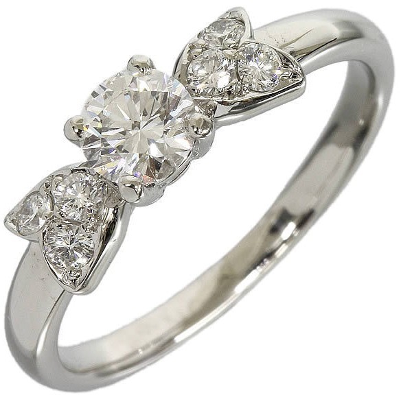 Christian Dior Christian Dior 950 Platinum Ribbon Diamond Ring Size 4.5