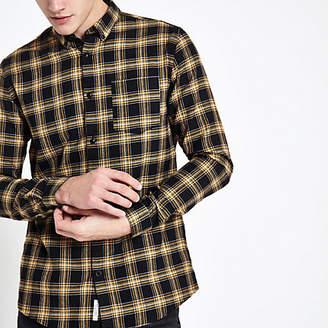 River Island Black and yellow check button-down shirt