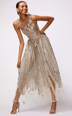 Oscar de la Renta Metallic Pleated Dress With Asymmetric Hem