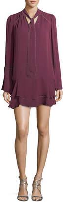 Parker Cathryn Tie-Neck Beaded Silk Mini Dress