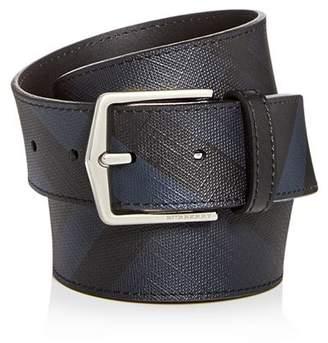 Burberry Joe London Check Embossed Leather Belt