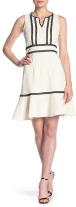 Nanette Lepore NANETTE Crochet Trim Fit & Flare Flounce Dress