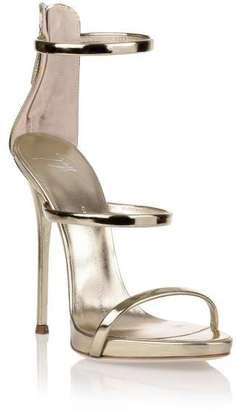 Giuseppe Zanotti Harmony platinum sandal $512 thestylecure.com