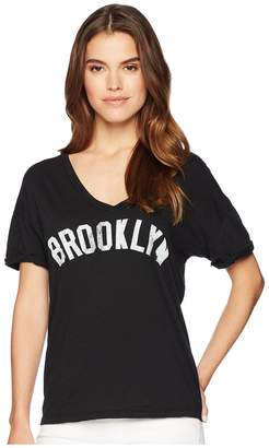 Original Retro Brand The Brooklyn Rolled Short Sleeve Slub Boyfriend V-Neck Women's Clothing