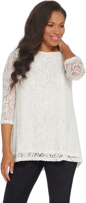 Joan Rivers Classics Collection Joan Rivers Lace Tunic with 3/4 Sleeves