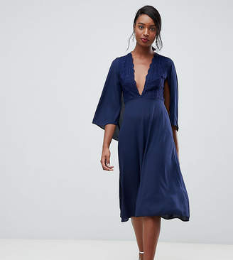 John Zack Tall lace top midi skater dress with cape detail in navy