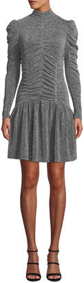 Ruched Long-Sleeve Metallic Jersey Dress