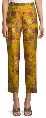 Etro High-Rise Straight-Leg Cropped Floral-Jacquard Pants