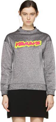 Versus Silver Lurex Neon Logo Sweatshirt