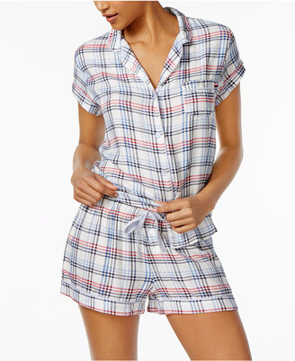 Tommy Hilfiger Girlfriend Plaid Top & Shorts Pajama Set $68 thestylecure.com