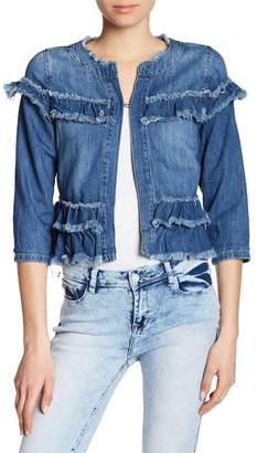 Kensie Frayed Ruffle Cropped Denim Jacket