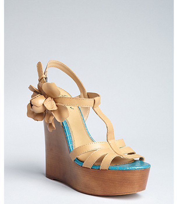 Mark & James by Badgley Mischka tan leather 'Maiko' wedge flower sandals